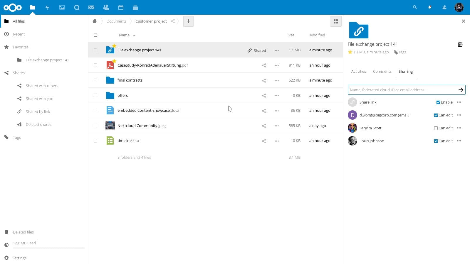 File sharing Audio Video chat Nextcloud